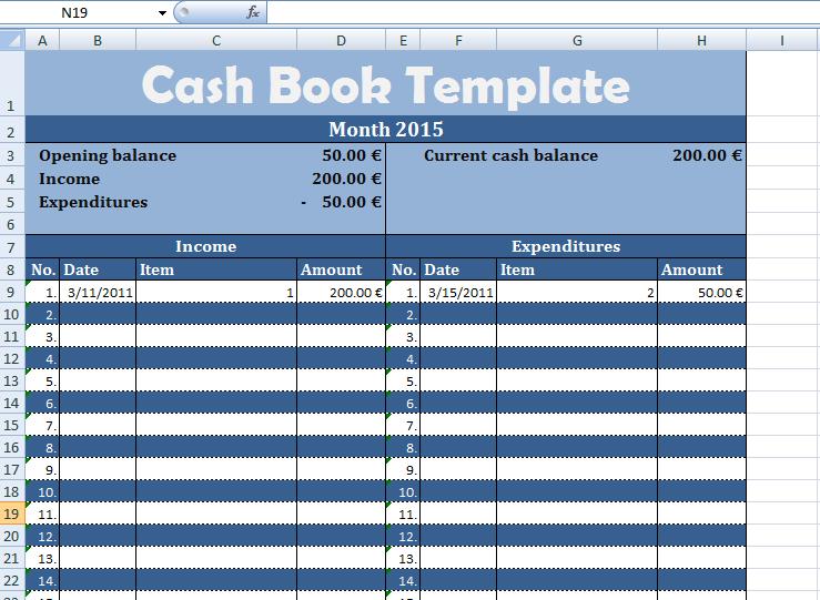 get cash book template exceltemple
