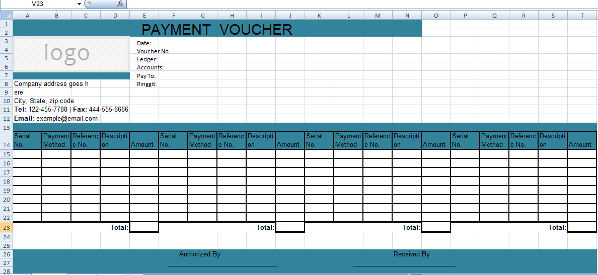 Get Excel Payment Voucher Template Xls Microsoft Excel Templates