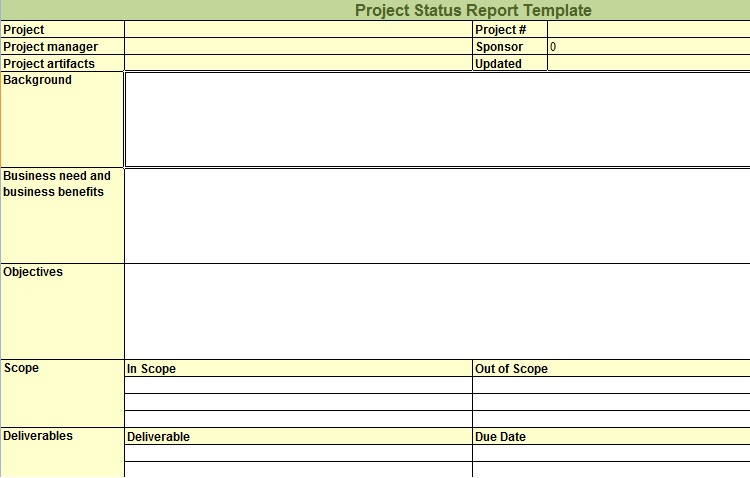Project Management Status Report Template Excel from exceltemple.com