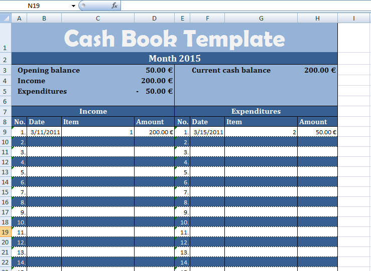 Get Free Cash Book Template For Business