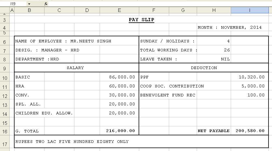 salary slip format excel file