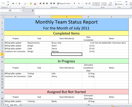Get Project Status Report Template Excel Microsoft Excel Templates
