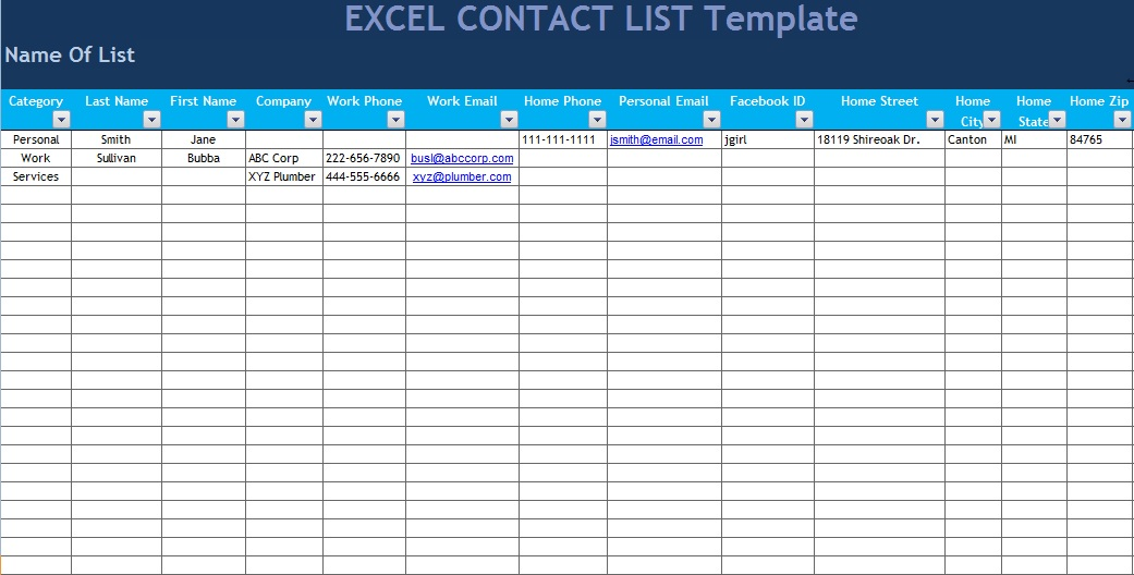Excel Contact list template
