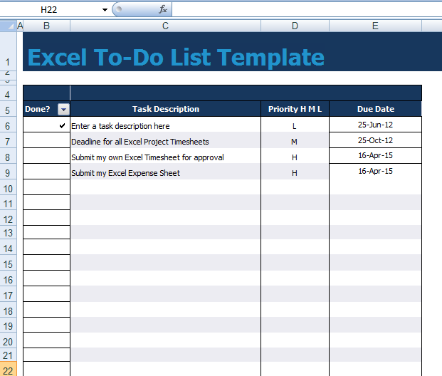 to-do list template excel xls
