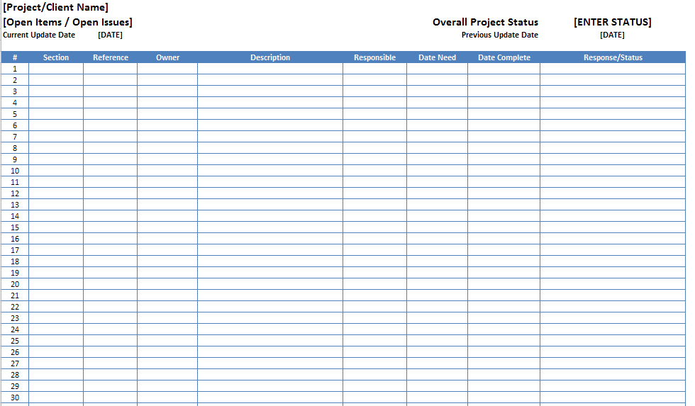 Open Items Issues Log List Template Excel