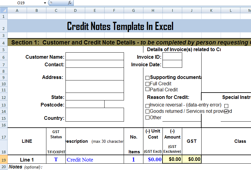 Credit Notes Template in MS Excel