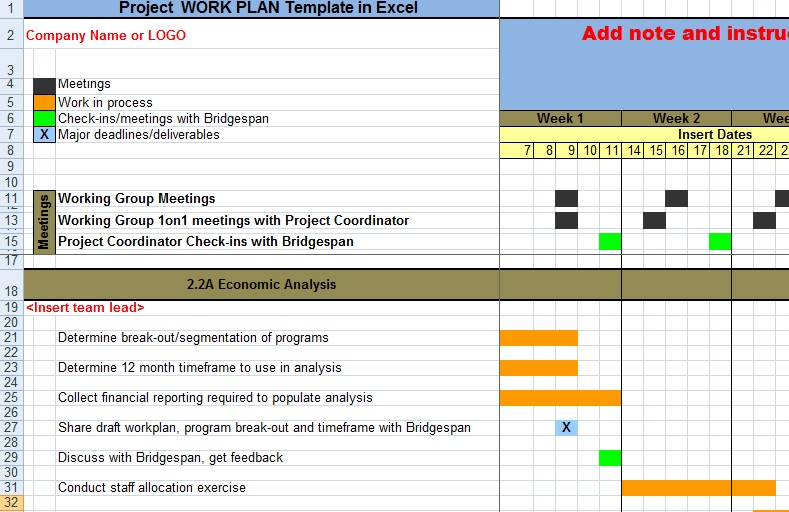 Project Work Plan Template in Excel
