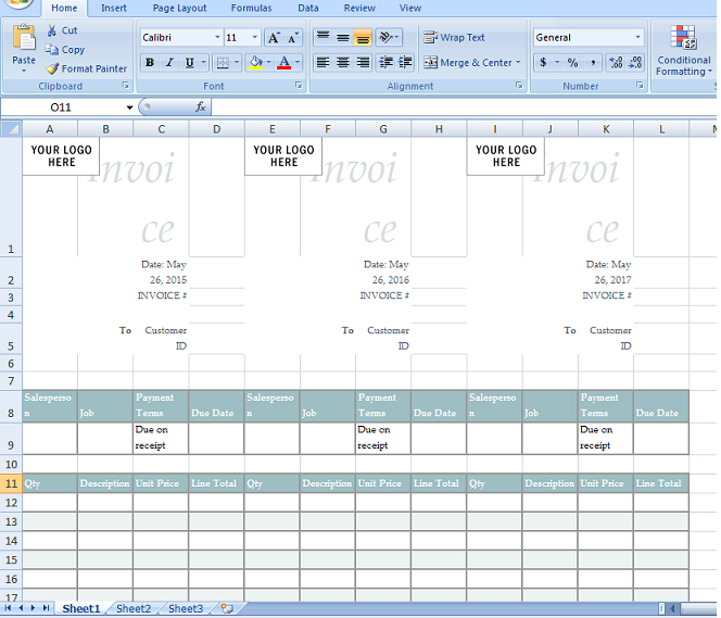 Sales Invoice Template In Excel Format Microsoft Excel Templates