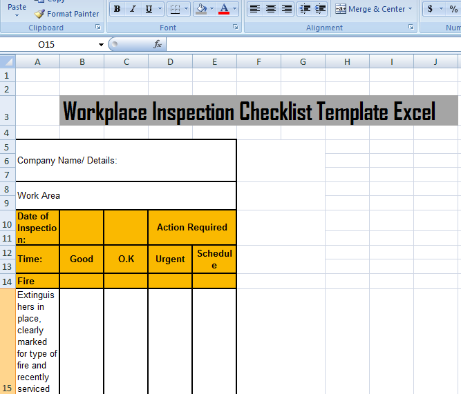 work checklist template excel
