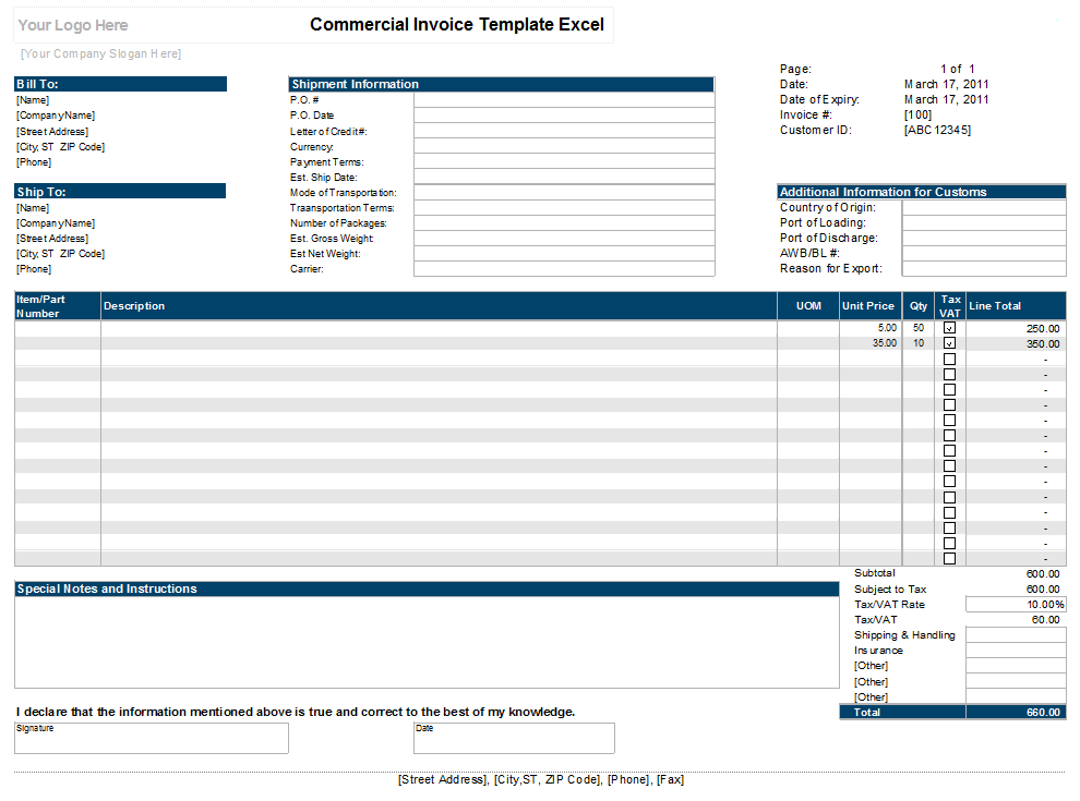 Commercial Invoice Template Excel xls