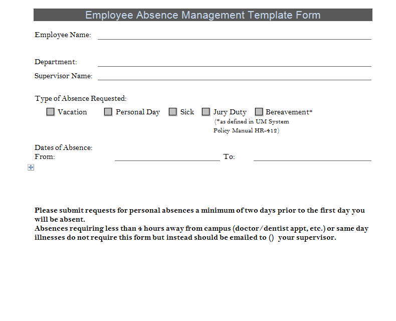 Employee Absence Management Template Form