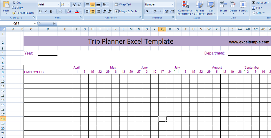 Trip Planner Excel Template Microsoft Excel Templates