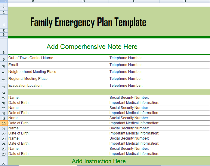 family emergency plan template excel