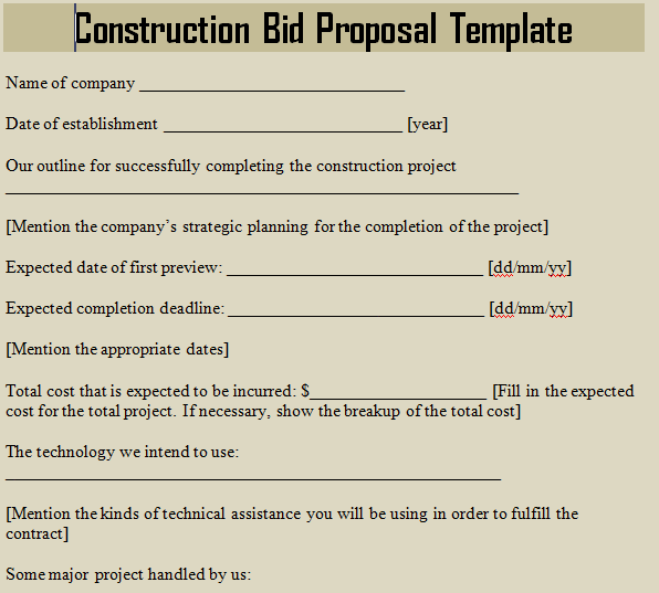 sample construction bid proposal