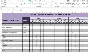 House Cleaning Schedule Templates in Excel