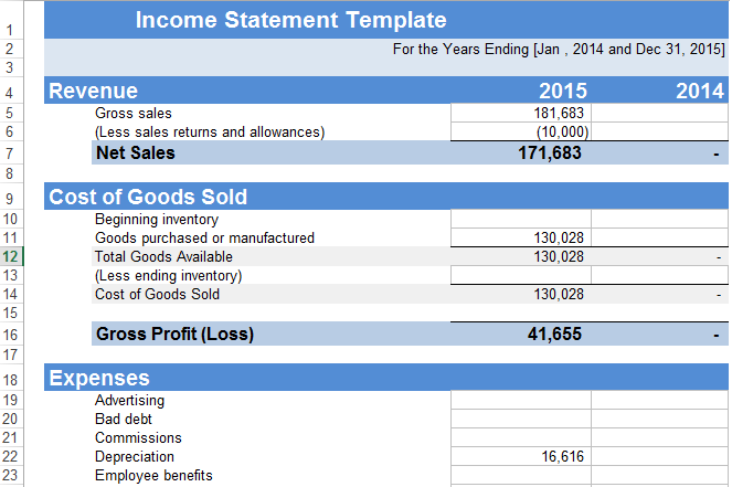 income statement Template in excel