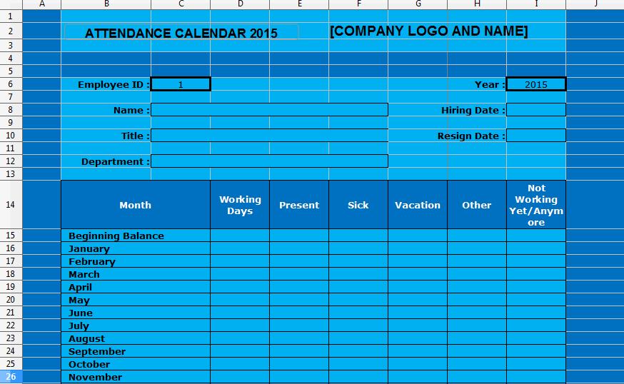 Employee Attendance Tracking Calendar Template 2015