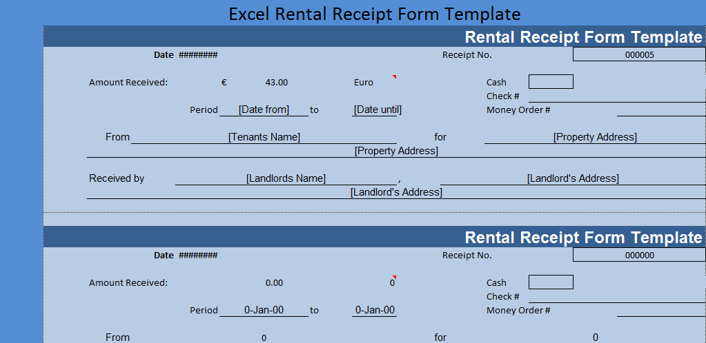 Excel Rental Receipt Form Template