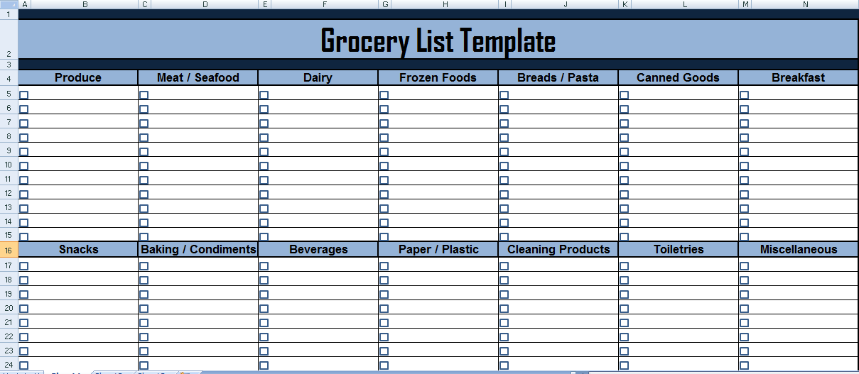 Grocery list Template in Excel