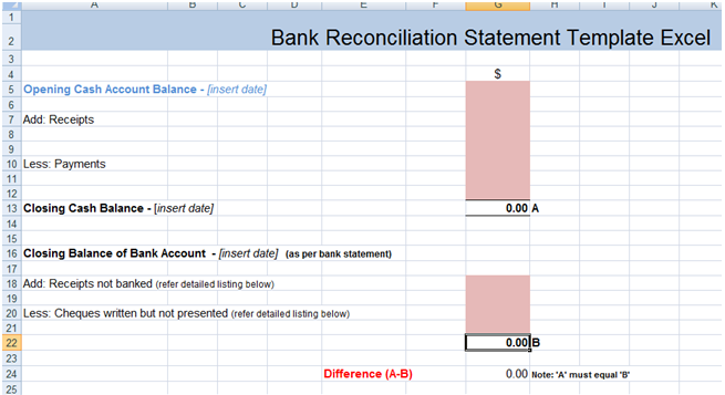 supplier reconciliation template - bank reconciliation statement excel template xls