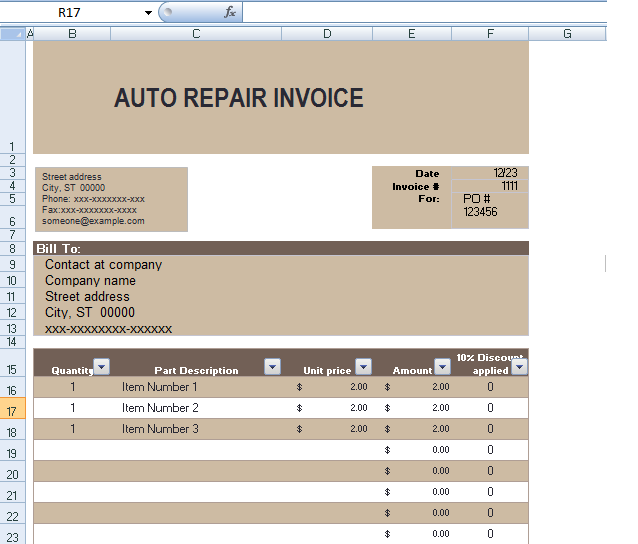 auto repair invoice template in excel format
