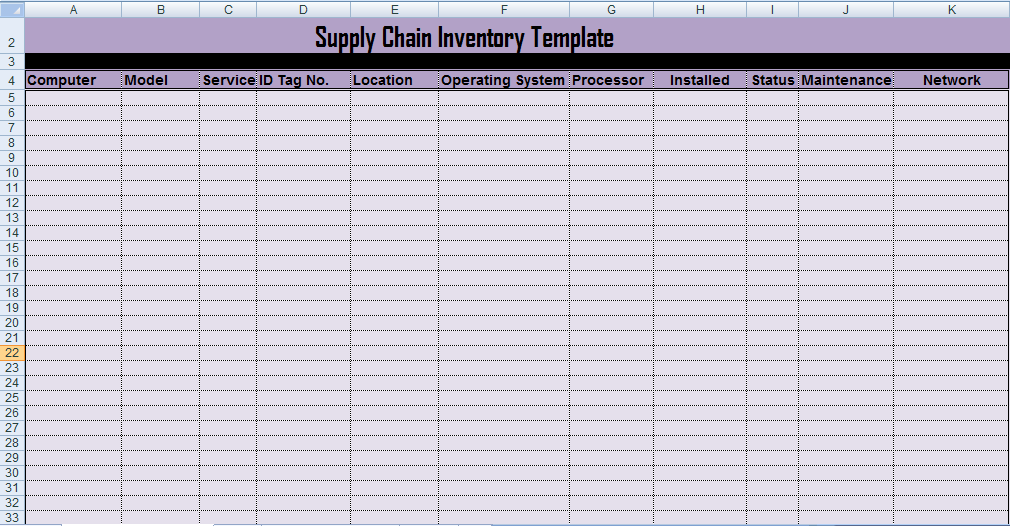 Professional Supply Inventory Template Excel