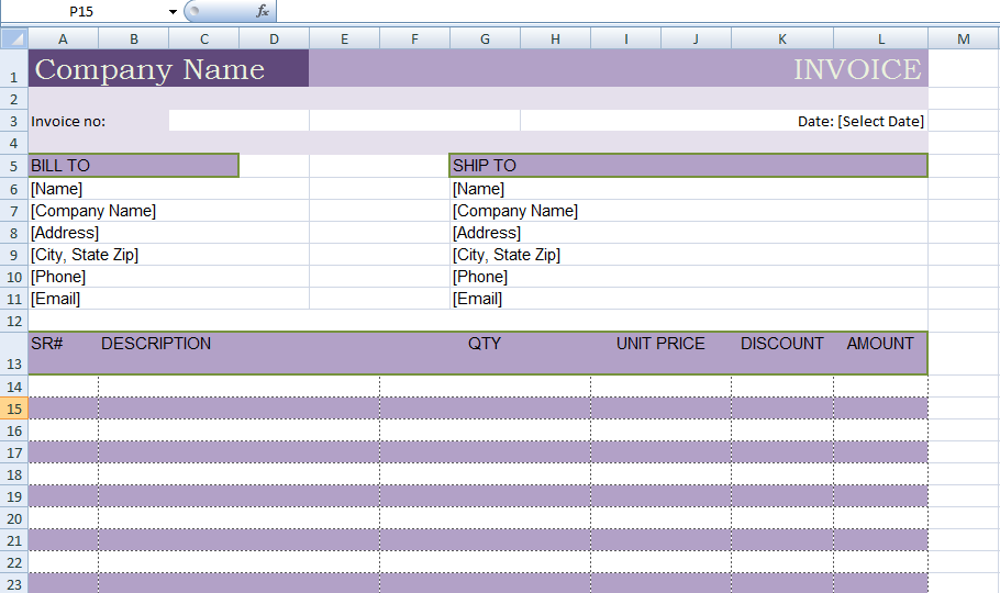 Excel Billing Invoice Template XLS