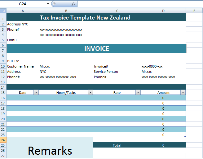 Tax Invoice Template New Zealand xls