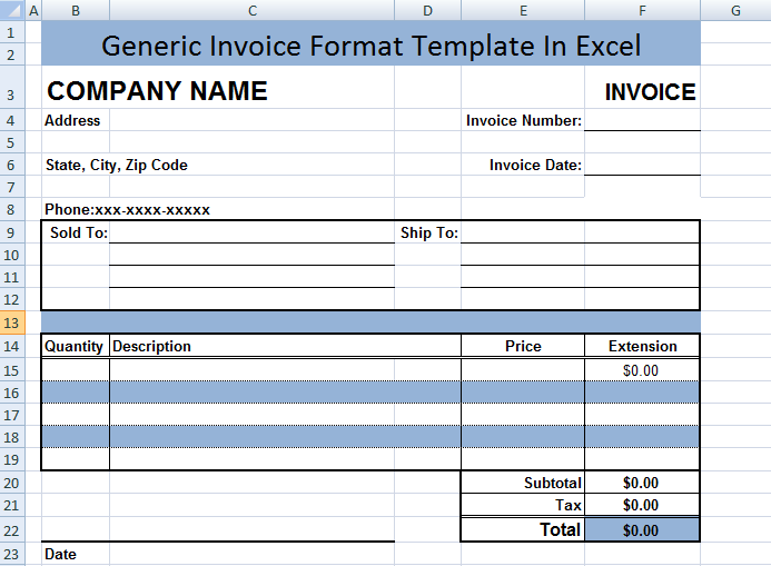 Generic Invoice Format Template In Excel