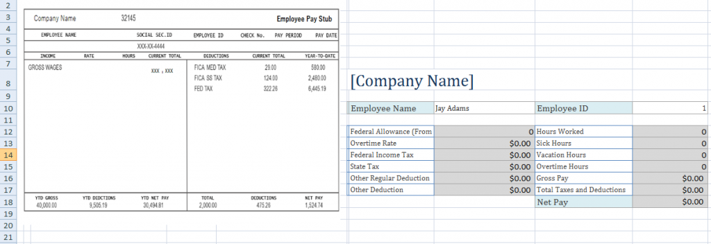 Employee Pay Stub Excel Template