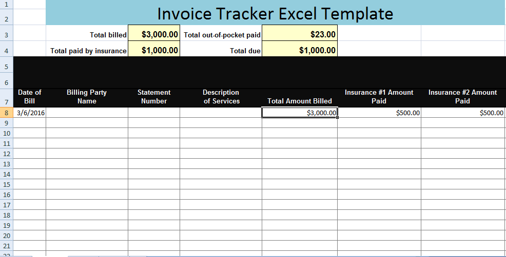 Invoice Tracker Excel Template XLS