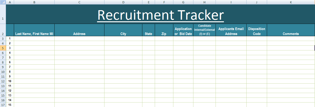 recruiting database template - recruitment tracker excel template xls exceltemple