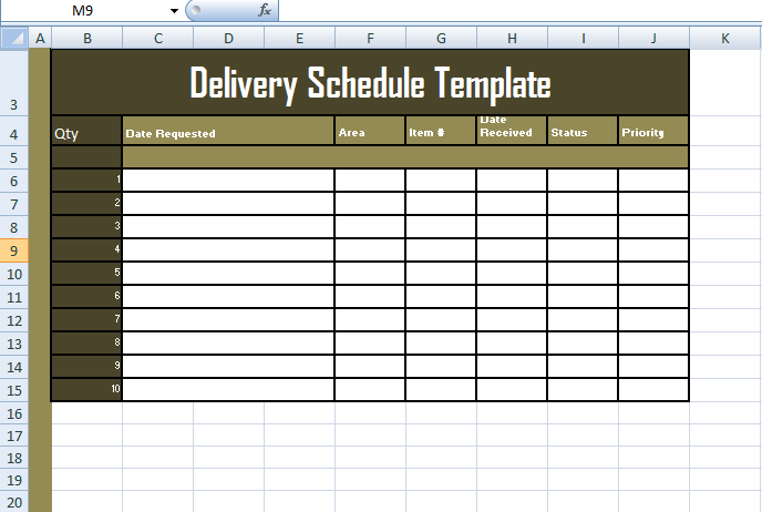 Format of delivery schedule template in excel exceltemple for Excel shipping tracking template