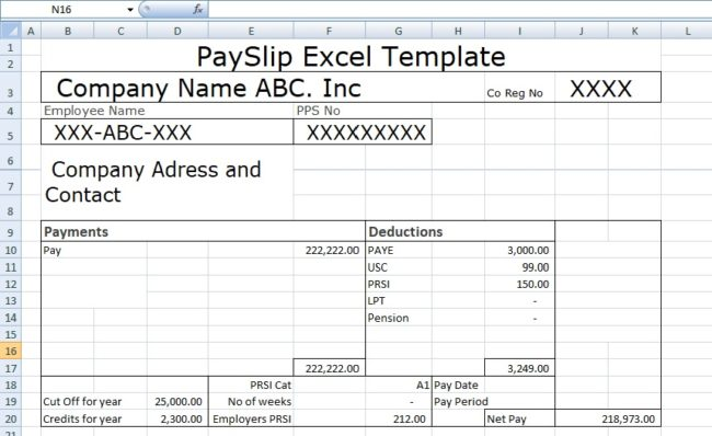 Payslip Template Format In Excel
