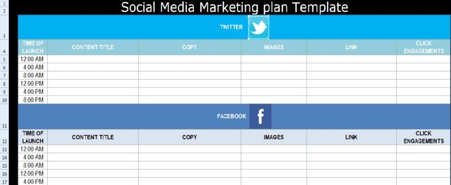 Social Media Marketing Plan Template Free Exceltemple