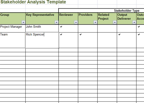 Stakeholder analysis template excel exceltemple for Key register template free