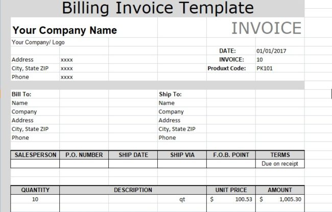 Billing Invoice Template Excel Microsoft Excel Templates