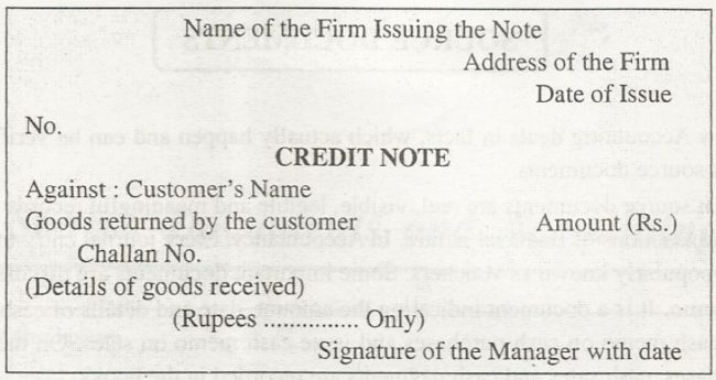 Credit Note format