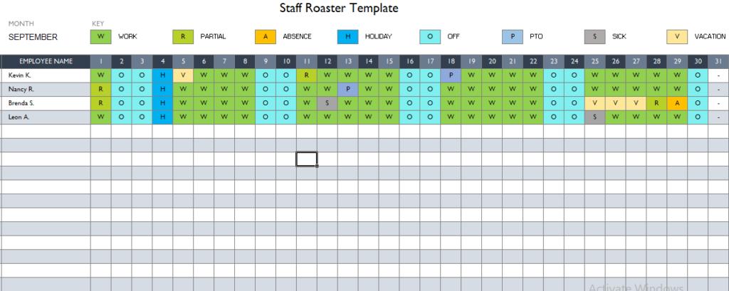 Restaurant Staff Roaster Template