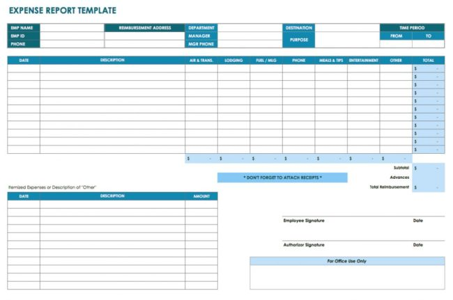 Multiple Business Expense Report Template