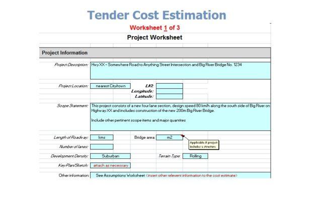 Tender Cost Estimation spreadsheet