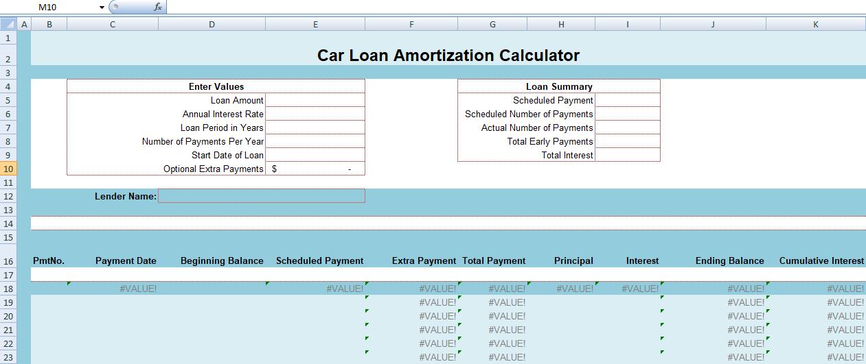 how car loan amortization calculator excel works