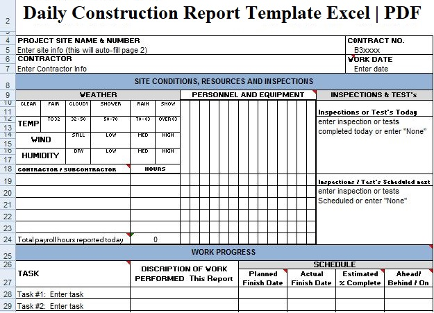 Daily Construction Report Template Excel PDF